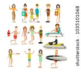 summer people icon set. group... | Shutterstock . vector #1035101068