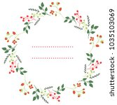 wreath with plants and berries | Shutterstock .eps vector #1035103069