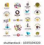 collection of flat food and... | Shutterstock . vector #1035104320