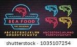 sea food logo neon light... | Shutterstock .eps vector #1035107254