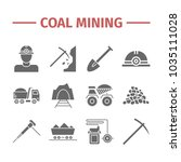 coal mining. flat icon set. | Shutterstock . vector #1035111028