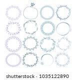 set of 16   wreaths   Shutterstock .eps vector #1035122890