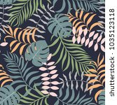 tropical background with palm... | Shutterstock .eps vector #1035123118