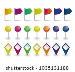 flags  round pins and map... | Shutterstock .eps vector #1035131188