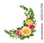 pink and yellow rose flowers...   Shutterstock . vector #1035131758