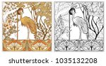 Poster, background with decorative flowers and bird in art nouveau style, vintage, old, retro style. Outline coloring page for the adult coloring book with colored sample Stock vector illustration. | Shutterstock vector #1035132208