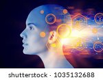 female cyborg head with... | Shutterstock . vector #1035132688