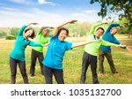 happy asian senior group... | Shutterstock . vector #1035132700