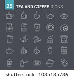 25 tea and coffee line icons on ... | Shutterstock .eps vector #1035135736