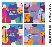 colorful music festival posters ... | Shutterstock .eps vector #1035140530
