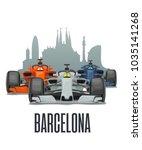 cityline barcelona and three... | Shutterstock .eps vector #1035141268