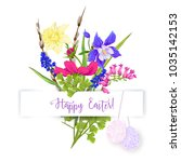 a bouquet of spring flowers ... | Shutterstock .eps vector #1035142153