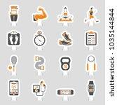 fitness  gym  health sticker... | Shutterstock .eps vector #1035144844