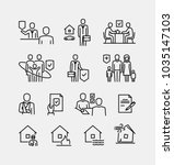 insurance vector line icons | Shutterstock .eps vector #1035147103
