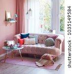 pink room pink furniture in... | Shutterstock . vector #1035149584