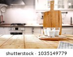 table background in kitchen and ... | Shutterstock . vector #1035149779