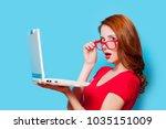 young beautfiul redhead girl in ...   Shutterstock . vector #1035151009