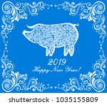 2019 happy new year greeting... | Shutterstock .eps vector #1035155809