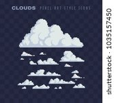clouds pixel art set isolated... | Shutterstock .eps vector #1035157450