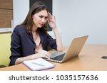 operator have headache from... | Shutterstock . vector #1035157636