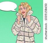 pop art pretty woman posing in... | Shutterstock .eps vector #1035158650