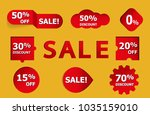 set of red sale stickers. red... | Shutterstock .eps vector #1035159010