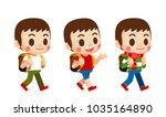vector set of cute boy... | Shutterstock .eps vector #1035164890
