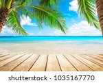 coconut palm trees against blue ... | Shutterstock . vector #1035167770