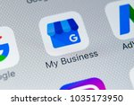 Small photo of Sankt-Petersburg, Russia, February 28, 2018: Google My Business application icon on Apple iPhone X screen close-up. Google My Business icon. Google My business application. Social media network