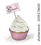 cupcake with pink cream and... | Shutterstock .eps vector #1035178630