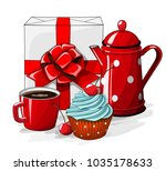 white gift boxt with red ribbon ... | Shutterstock .eps vector #1035178633