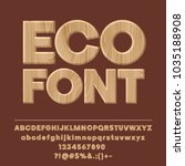 vector wooden textured eco font.... | Shutterstock .eps vector #1035188908