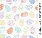 seamless easter day egg pattern ... | Shutterstock .eps vector #1035199309