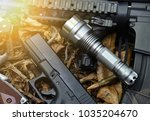 tactical flash light and... | Shutterstock . vector #1035204670