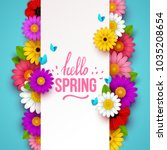 colorful spring background with ... | Shutterstock .eps vector #1035208654