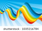 bright rainbow in the blue sky. | Shutterstock .eps vector #1035216784