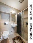 modern bathroom interior with... | Shutterstock . vector #1035217633