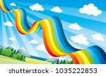 bright rainbow in the blue sky... | Shutterstock .eps vector #1035222853