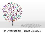 postcard tree butterfly instead ... | Shutterstock . vector #1035231028