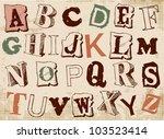 sketched alphabet set  based on ...   Shutterstock .eps vector #103523414
