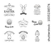 happy easter set with cute... | Shutterstock .eps vector #1035238576