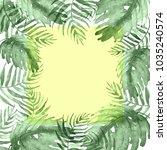 watercolor frame tropical... | Shutterstock . vector #1035240574