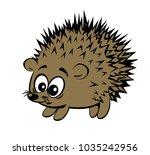 a cute cartoon style hedgehog | Shutterstock .eps vector #1035242956