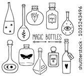 set of magic cartoon bottles... | Shutterstock .eps vector #1035243496