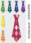 Bright plaid silk tie stickers in vector format. - stock vector
