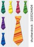Bright stripe silk tie stickers in vector format. - stock vector