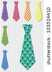Bright peacock silk tie stickers in vector format. - stock vector