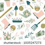 garden tool seamless pattern.... | Shutterstock .eps vector #1035247273