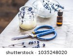 handmade candles with lavender... | Shutterstock . vector #1035248020