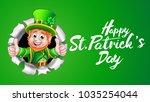 a cute leprechaun cartoon...   Shutterstock .eps vector #1035254044